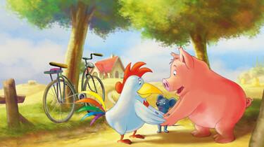 Szenenbild: Das Schwein, die Maus und der Hahn auf einem Waldweg