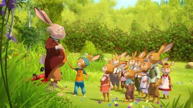 Szenenbild des Animationsfilm: Lehrer Eitelfritz vor seiner Osterhasenklasse