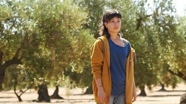 Alma steht vor einem Olivenhain und blickt in die Ferne.