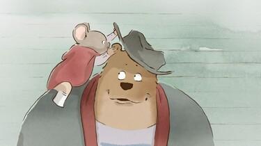 Die Maus Célestine flüstert dem Bär Ernest etwas ins Ohr.