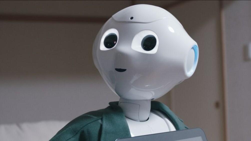 Auf dem Bild ist der Roboter Pepper abgebildet.