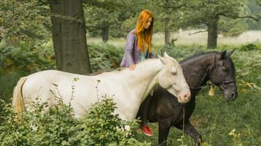 Mika mit den beiden Pferden 33 und Ostwind im Wald.