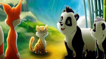 Szenenbild: Pandas, Fuchs und Katze sitzen sich gegenüber