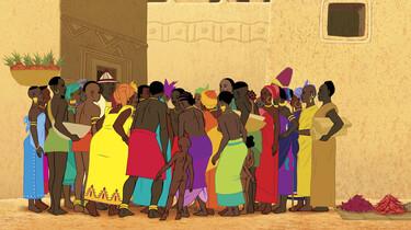Szenenbild: viele Frauen stehen zusammen in bunten Kleidern (Animationsfilm)