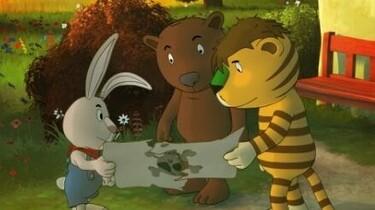 Szenenbild: Tiger, Bär und Hase betrachten die Schatzkarte
