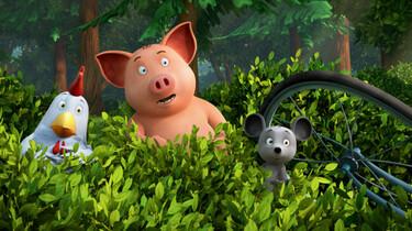 Szenenbild des Animationsfilms: Franz von Hahn, Waldemar und Johnny Mauser hinter einem Gebüsch versteckt