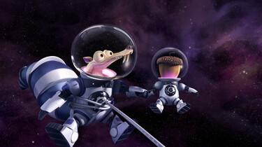 Szenenbild: Scrat und seine Nuss in Raumanzügen im Weltall schwebend