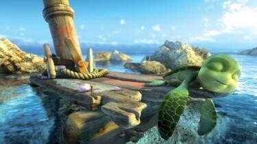 Szenenbild: Sammy, die Schildkröte, liegt auf einem Holzgerüst im Wasser