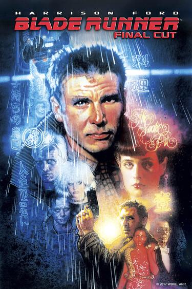 Auf dem Filmplakat ist der Replikantenjäger Deckard zu sehen.