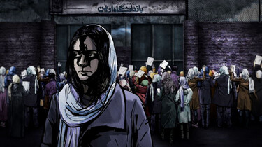 Szenenbild des Animationsfilms: Frau vor Menschenmenge