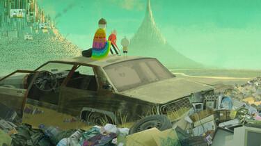 Szenenbild: Der Junge und ein Freund sitzen auf einem Autodach und blicken auf eine Müllkippe.